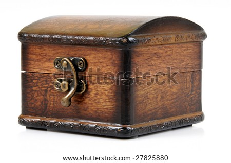 Wooden treasure chest with valuables, isolated over white background - stock photo