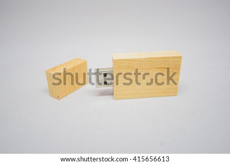 wooden USB memory stick - stock photo