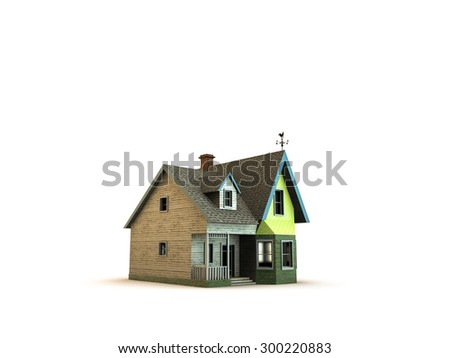 wooden victorian house style isolated on white background - stock photo