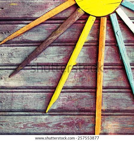 Wooden vintage decorative background - stock photo