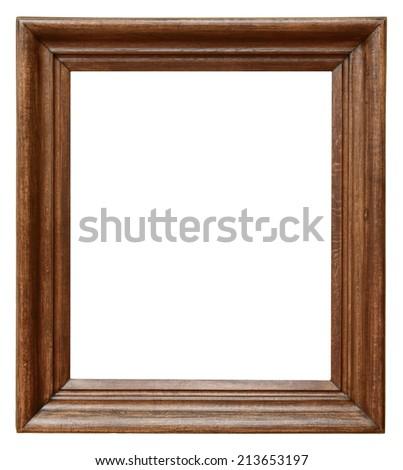 Wooden vintage frame isolated on white background - stock photo