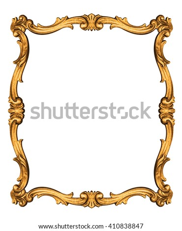 Wooden vintage frame isolated on white background -Clipping path - stock photo