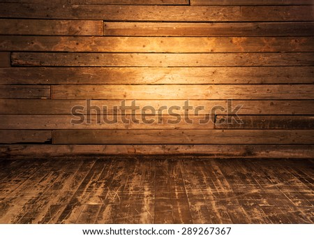 Wooden wall and floor background. - stock photo