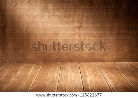 Wooden wall background with spotlight - stock photo