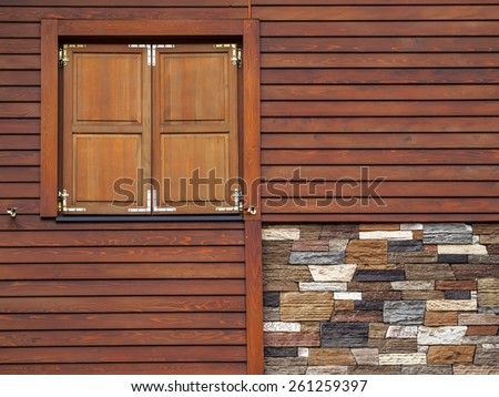 Wooden wall facade background - stock photo