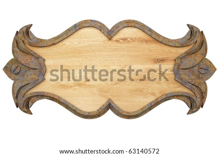 wooden wall panel with a metal frame. with clipping path. - stock photo