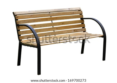 Wooden  weathered yellow garden bench with metal legs. Isolated with patch. Mass production  - stock photo
