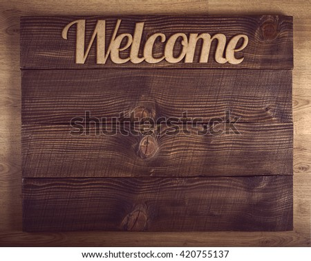 Wooden welcome sign with old brown copy space - stock photo