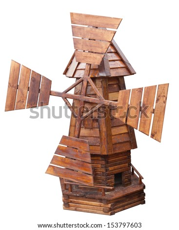 wooden windmill isolated, white background - stock photo