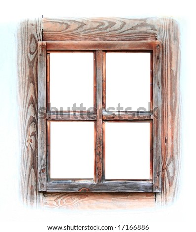 Wooden window frame isolated on white. - stock photo