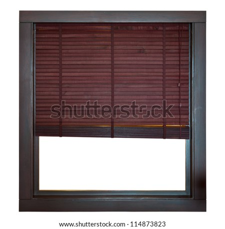 Wooden window frame with bamboo blind - stock photo