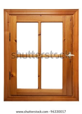 wooden window isolated on white background - stock photo