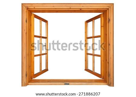 Wooden window opened isolated on white background - stock photo