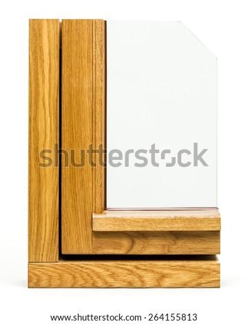 wooden window sample isolated on white background - stock photo