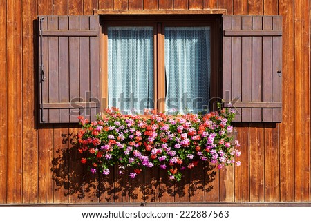 Wooden window with shutters open on and flowers in hanging flower tray - stock photo