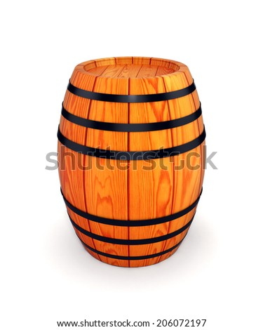 wooden wine or beer barrel isolated on white  - stock photo