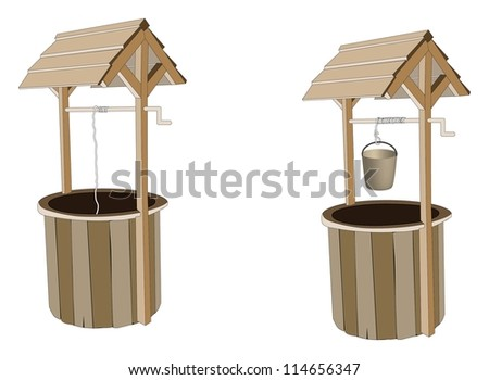 Wooden wishing wells - stock photo