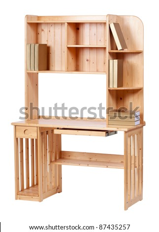 Wooden workstation over white, with clipping path - stock photo