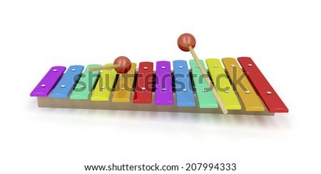 Wooden xylophone on white background - stock photo