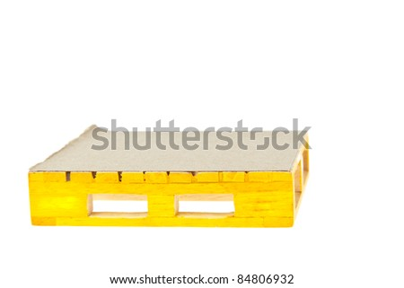 wooden yellow palette on white background - stock photo