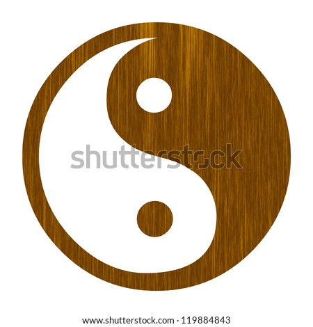 wooden yin yang sign on a solid white background - stock photo