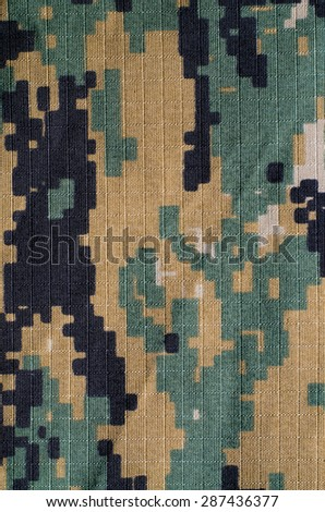 Woodland digital camouflage rip-stop vertical fabric texture background  - stock photo