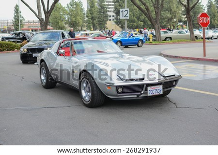 Woodland Hills, CA - Abril 5, 2015: Chevrolet Corvette Stingray classic car on display at the Supercar Sunday Pre-1973 Muscle car event. - stock photo