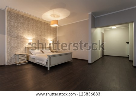 Woodland hotel - Interior of a modern hotel room - stock photo