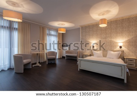 Woodland hotel - Interior of elegant hotel room - stock photo