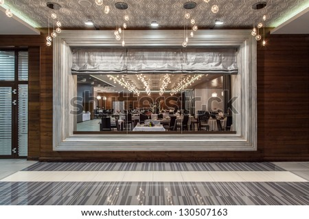 Woodland hotel - restaurant, view from a window - stock photo