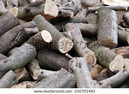 Woodpile. Background and Texture. - stock photo