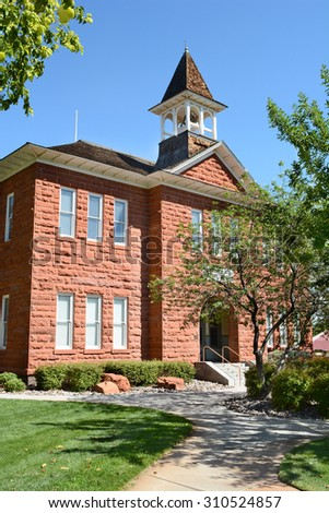 Woodward School in the historic district of St. George, Utah. The school was built in 1901. The building was put on the National Register of Historic Places in 1980.   - stock photo
