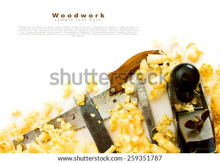 Woodworking. Joiner's works. Joiner's tools (saw, plane, chisel) on a white background. - stock photo