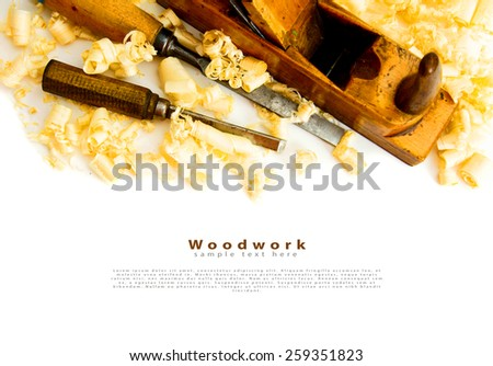 Woodworking. Joiner's works. Wooden shaving and plane on white background. - stock photo