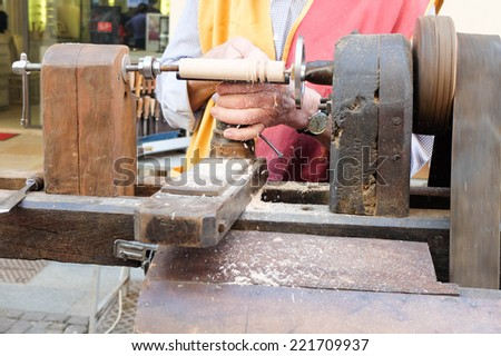 woodworking lathe hand tool - stock photo