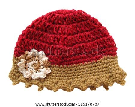 Wool cap for child isolated on white. Crochet handmade hat. - stock photo