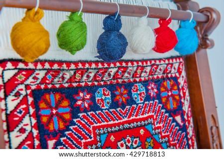 wool handmade carpet, carpet, rug, warps of carpet - stock photo