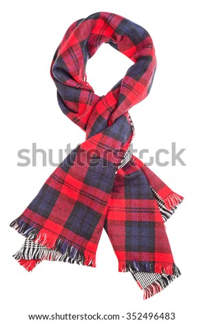 Wool red tartan plaid scarf isolated on white background. File contains a clipping path. - stock photo