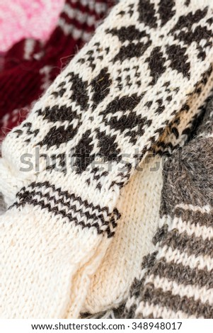 Wool socks are exposed to be sold - stock photo