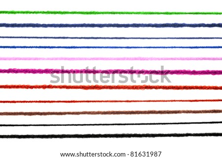 Wool strings isolated on white - stock photo