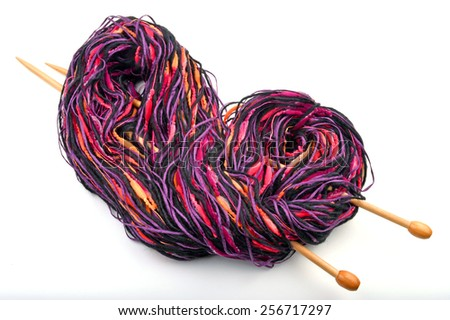 wool yarn and knitting needle - stock photo