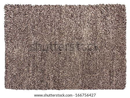 Woolen shaggy a handwork carpet on a white background - stock photo
