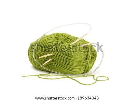 Woollen yarn and knitting needles. Needlework accessories isolated on white  - stock photo