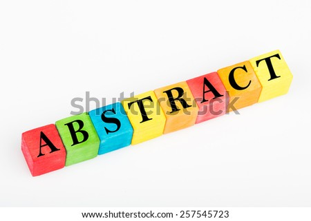word abstract on colorful wooden cubes isolated on white background - stock photo