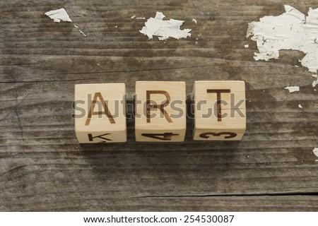 word ART on a wooden blocks - stock photo