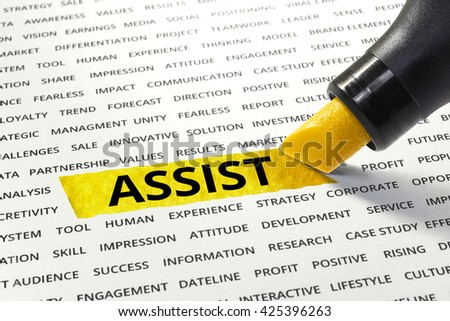 Word Assist highlighted with marker on paper of other related words.business success concept. - stock photo