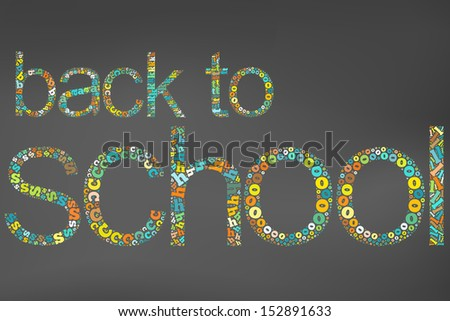 Word back to school Info-text graphics and arrangement concept (word clouds) isolated black background - stock photo