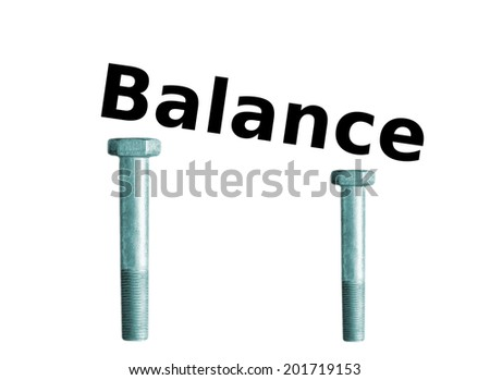 """Word """"Balance"""" id on the two bolts on a white background. Taking decision. - stock photo"""