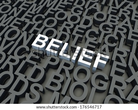 Word Belief in white, salient among other keywords concept in grey. 3d render illustration. - stock photo