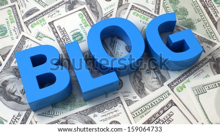 Word Blog on the background of one hundred dollar bills - stock photo